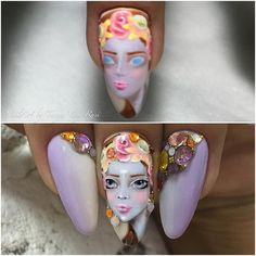 Танька Максова- Just look at the crystals she uses, how they're placed and color matched perfectly. Gah! I would kill to have this woman paint my nails.