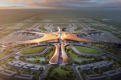 Check out Beijing's new airport terminal by Zaha Hadid: 700,000 square meters (173 acres!) in total, with an 80,000-square-meter ground transportation centre. It kind of looks like the mother of New Mexico's spaceport, from where Virgin Galactic operates: