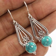 "Unique Style Earrings 925 Sterling Silver TURQUOISE (S) Gems 45 mm 1 3/4"" Length #Unbranded #DropDangle"