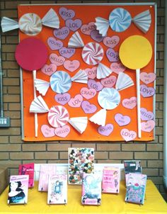 Sugar and Spice and All Things Nice // Library Display - Bulletin Board // Theme/s - Valentine's Day, Halloween (adapt candy motif for October)