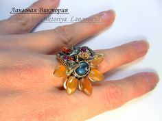 Sunflower Ring, Insect Jewelry, Butterfly Ring, Color Ring, Silver Flowers, Pink Tourmaline, Unique Rings, Unusual Jewelry, Chakra