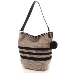 bag, with leather strap & pom-pom