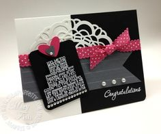 Chic, modern wedding card using Love & Laughter stamp set. Designed by Mary Fish, Independent Stampin' Up! Demonstrator. Details, supply list and more card ideas on http://stampinpretty.com/2012/03/stampin-up-love-laughter-plus-a-new-mojo.html