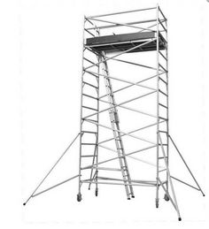 Tower Scaffolding for rent in Malta 0.85m.  Suitable for use in narrow alleys and stairways, these versatile scaffolding towers for rent in Malta, come supplied with height adjustable locking casters.
