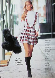 Cosmopolitan US, October 1994  Photographer : Brian Nice  Model : Krissy Taylor   turtleneck :)  http://80s-90s-supermodels.tumblr.com #tartan