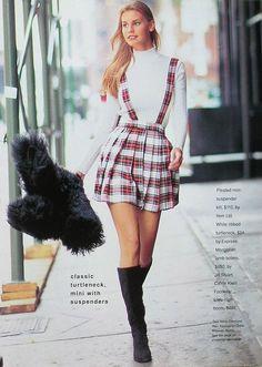 Cosmopolitan US, October 1994  Photographer : Brian Nice  Model : Krissy Taylor   turtleneck :)  http://80s-90s-supermodels.tumblr.com #tartan