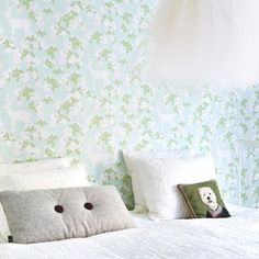 Apple Garden Wallpaper in Turquoise by Majvillan In a soft turquoise, green, pink & creamy white. Code Non-Woven Wallpaper (paste the wall) Washable & Eco-Friendly Roll Size: x Repeat: Straight Match 2 Rolls in stock at the sale price !
