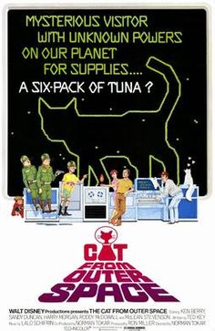 The Cat from Outer Space (1978) G  -    A UFO is stranded on earth and impounded by the US government. Its pilot, a cat with a collar that has special powers, including the ability to allow the cat to communicate with humans  -    Director: Norman Tokar  -   Writer: Ted Key  -   Stars: Ken Berry, Sandy Duncan, Harry Morgan  -    COMEDY / FAMILY / SCI-FI
