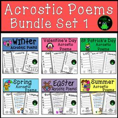 Are you looking for a fun activity to practice poetry? This Bundle includes 6 Acrostic Poem products. The poems included in them are the perfect activity for students to practice their poetry skills and have fun writing about different themes. These poetry worksheets are great for