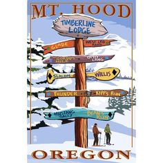 Mt. Hood, Oregon - Timberline Lodge - Winter Ski Runs Sign - Lantern Press Artwork (Acrylic Serving Tray)