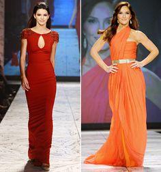 Kendall Jenner in Badgley Mischka; Minka Kelly in Oscar de la Renta