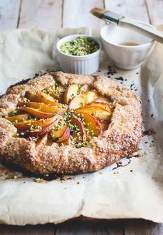 Bourbon-Honey Peach Galette with Buttermilk Crust & Pistachios // butterlust.com @butterlustblog