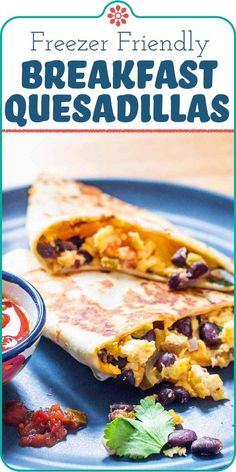 Egg and Bean Breakfast Quesadillas! Breakfast quesadillas are the ultimate quick easy breakfast. Just scramble some eggs and beans fold them into a tortilla with cheese and cook until crispy. Make a whole batch and freeze some for a quick meal on the go! Breakfast Quesadilla, Quesadilla Recipes, Simply Recipes, Egg Recipes, Salad Recipes, Black Beans And Eggs Recipe, Meal Prep Containers, Quick And Easy Breakfast, Just Cooking