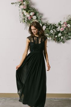 Elegant, romantic, and just plain gorgeous! We're obsessed with this flattering lace maxi dress. The classic black color gives this look an edgy yet feminine feel, and we love how lightweight and flow