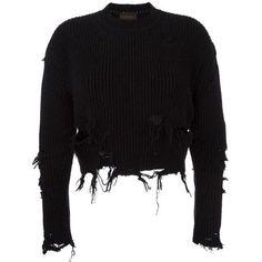 Yeezy Season 3 destroyed crop boucle sweatshirt (£575) ❤ liked on Polyvore featuring tops, hoodies, sweatshirts, sweaters, black, ripped sweatshirt, destroyed sweatshirt, cropped sweatshirt, ripped tops and crop top