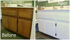 Clever Nest: Repainting Bathroom Cabinets    diy, refinish, white
