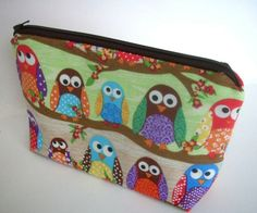 Owls in Line Large Flat bottom zipper pouch Gadget Case Cosmetic Bag (Padded). $18.00, via Etsy.