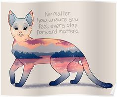 """'""""Every Step Forward Matters"""" Ocean View Sunset Cat' Poster by thelatestkate Inspirational Animal Quotes, Cute Animal Quotes, Motivational Quotes, Cute Animals, Cute Animal Drawings, Cute Drawings, Positive Thoughts, Positive Quotes, Positive Vibes"""