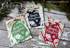 Christmas in July Mini Treat Bags by Artisan Design Team member, Connie Collins using Peace This Christmas and Oh, What Fun stamp sets by Stampin' Up!