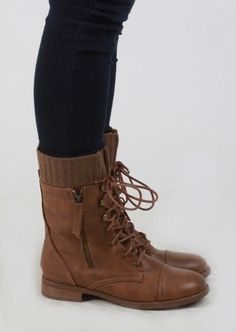 Combat Boots With Knitted Cuff