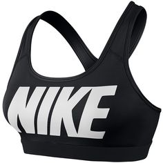 Nike Pro Bra (£26) ❤ liked on Polyvore featuring activewear, sports bras, tops, underwear, sport, black logo, shoes, women, womens clothing and nike sports bra