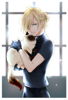 Yuri and cat. Awwww