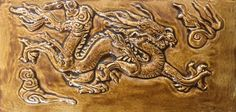 Ceramic handmade Dragon tile in a rich burnt Sienna glaze by CelticValleyCeramics on Etsy Ceramic House Numbers, Dragon House, Fiery Dragon, Fire Surround, Year Of The Dragon, Chinese Zodiac Signs, Ceramic Houses, Mythical Creatures, Glaze