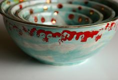 Turquoise and Red bowls