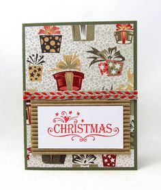 Christmas Card - Rustic Style - Green and Red Christmas Card - Blank Card - Christmas Presents - Burlap Ribbon - Red Ink
