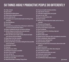 50 Things Highly Productive People Do Differently success goals self improvement entrepreneurs self help productive productivity entrepreneurship Leadership, To Do Planner, Learning To Say No, Life Learning, Increase Productivity, Productivity Hacks, Startup, Study Motivation, Study Tips