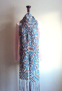Extra Long Granny Square Scarf Crochet Oversized Cotton Scarf Women Fashion Scarves Afghan Scarf