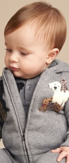 SALE !!! DOLCE & GABBANA Baby Boys Mini Me Grey DG Family Zip-Up Hooded Sweatshirt.  Super Cute Mimmo the Dog & Zambia the Cat appliqué on the Front.Your Little Prince will Look Super Stylish & be Comfy in this D&G Baby Outfit from the Fall Winter 2017-18 Collection. Now on  SALE!  #kidsfashion #fashionkids #dolcegabbana #dolcegabbanababy #babyclothes #sale #babyclothessale