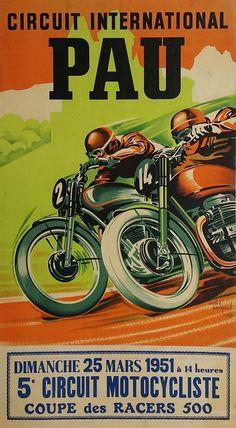 Original+vintage+motorcycle+poster+Pau+Circuit+International+Coupe+des+racers+500+-+1951+-+André+BERMOND