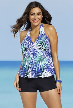 3722a26836603 Shore Club Plus Size Maile Halter Boy Shortini