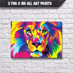 Lion-Abstract-Pop-Art-Wall-Art-Print-A4-Poster-Prints-Animal-Picture