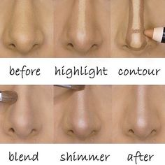 Make up contour makes the nose on your face look nothing like the nose on your face. Nose Contouring, Contour Makeup, Contouring And Highlighting, Skin Makeup, Strobing Makeup, Big Nose Makeup, How To Blend Contouring, Makeup Ideas, Makeup Ideas