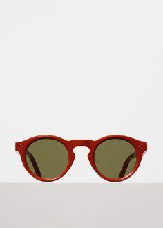 17e30d1f25ebe Bevel Round Sunglasses in Chili Acetate with Green Lenses - Céline