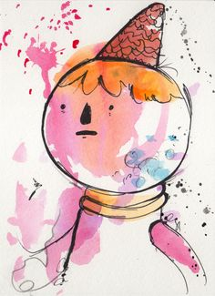 Original Painting 5x7 inches of Gumball Guardian II, Adventure Time inspired. Watercolor drawing fan art.