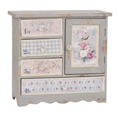 Petit meuble armoire buffet décoratif style papier peint fleuri