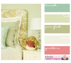 I like the muted greens, maybe more of an orange/coral instead of the rose color
