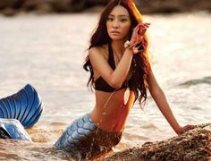 We've got a mermaid falling in love with a land bound boy in this cute editorial for Vogue Girl Korea's July 2010 issue. Photographed by Tae Woo with model Continuity (? Mermaid Photo Shoot, Mermaid Pose, Mermaid Pictures, Mermaid Tails, Mermaid Art, Mermaid Kisses, Mermaid Lagoon, Mermaids Exist, Real Mermaids