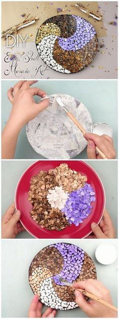 Check out this easy tutorial on how to make a #DIY mosaic eggshell plate art. Love it! #HomeDecorIdeas @istandarddesign