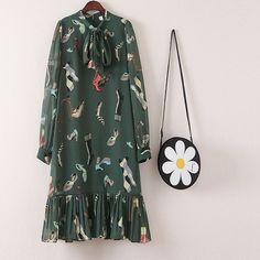 Плюс размер дамы цветы шифоновое платье 2018 новая весенне Летняя женская с длинным рукавом цветочный принт платья XL XXL 3XL 4XL 5XL купить в магазине Shenzhen WanSu Garments Co., Ltd Store на AliExpress