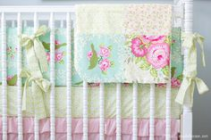 Sweet Birdie Ruffles Custom Crib Bedding Set by LottieDaBaby, $450.00