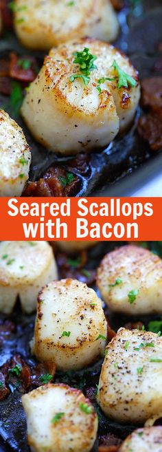 Seared Scallops with Bacon - easy seared scallops with crispy bacon bites in butter and lemon. Succulent, juicy, restaurant quality and much cheaper! Fish Recipes, Seafood Recipes, Dinner Recipes, Cooking Recipes, Recipies, Healthy Recipes, Pork Recipes, Delicious Recipes, Fish Dishes