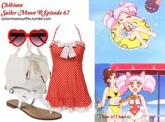 Like Sailor Moon Outfits on Facebook!  Forever 21 structured tote in Ivory Betsey Johnson pinwheel sweetheart one piece swimsuit in Cherry Merona Emeline braided flat sandals in White Fred Flare heart shaped sunglasses in Red Sailor Moon Outfit, Sailor Moon Cosplay, Sailor Moons, Sailor Chibi Moon, Sailor Saturn, Cartoon Outfits, Anime Outfits, Cool Outfits, Sailor Moon Collectibles