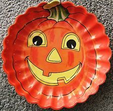 $69 -Halloween Jack O Lantern Pumpkin Plastic Bowl Vintage 1950s Orange Black Yellow
