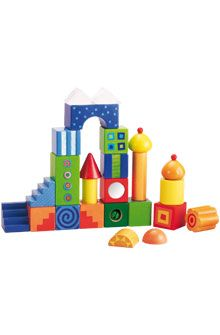 Fantasy Blocks    Thanks to their optical effects these beautiful blocks will fascinate children. These blocks transform their first buildings into authentic little artifacts of many shapes and colors. Building blocks of beech wood and acrylic, some with foil coating. 26 pieces. Basic measurement: 4 cm.    Age: from 1 years