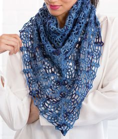 Lacy Blues Pineapple Shawl By Marly Bird - Free Crochet Pattern - (redheart)