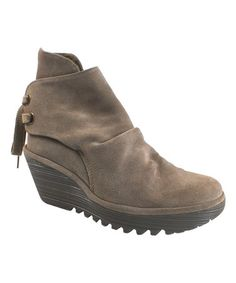 Taupe Yama Suede Ankle Boot by FLY London #zulily #zulilyfinds